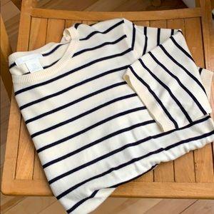 H&M short sleeves striped knit shirt size medium